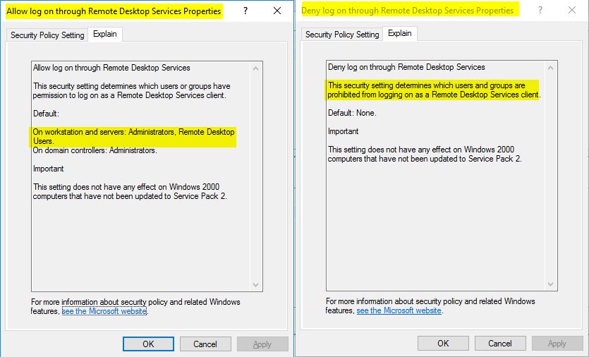 Use Group Policy to allow or deny access to Remote Desktop Services