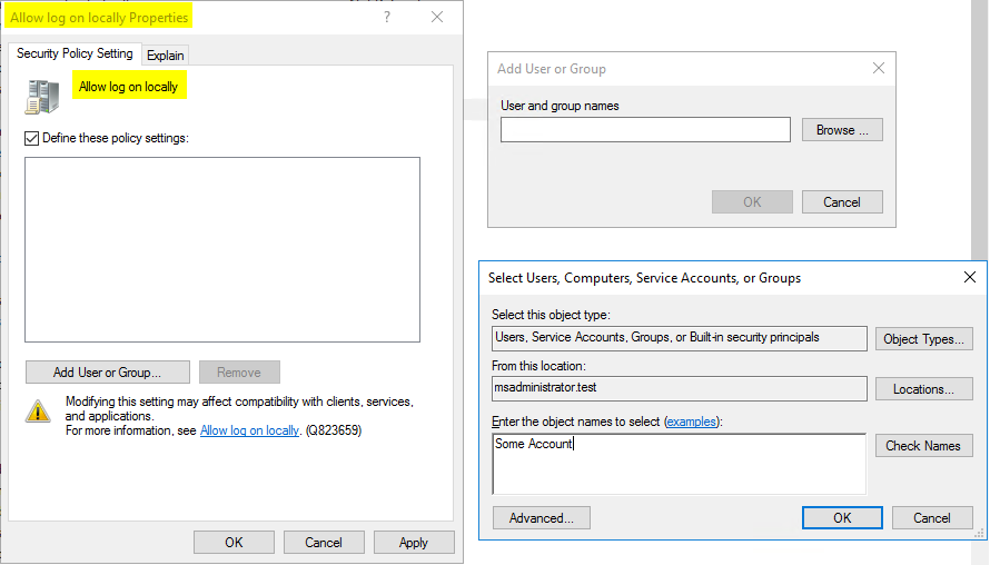 Use Group Policy to define accounts or services that are allowed to log on locally