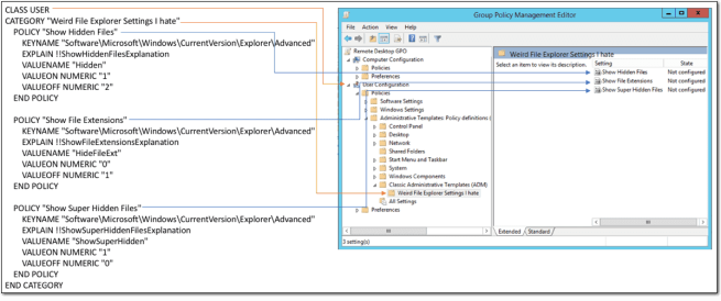 An ADM template displayed in the Group Policy editor